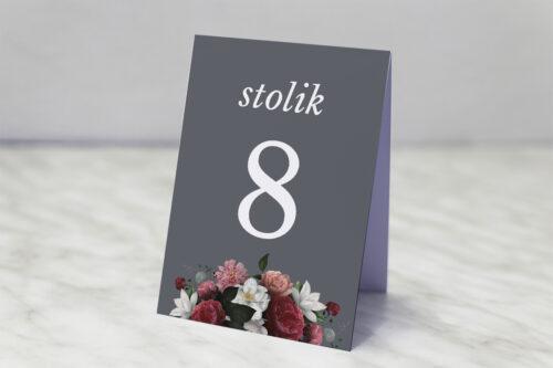 Numer stolika pasujący do zaproszenia Kwiatowe Nawy - Burgundowy bukiet