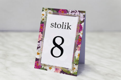 Numer stolika pasujący do zaproszenia Tło z kwiatów – Kolorowe astry