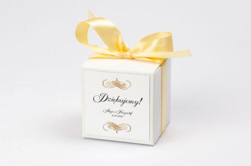 Pudełeczko z personalizacją na krówki - Eleganckie ślubne 3D - Złote