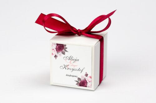 Ozdobne pudełeczko na krówki z personalizacją - Geometryczne Kwiaty - Amarantowy bukiet