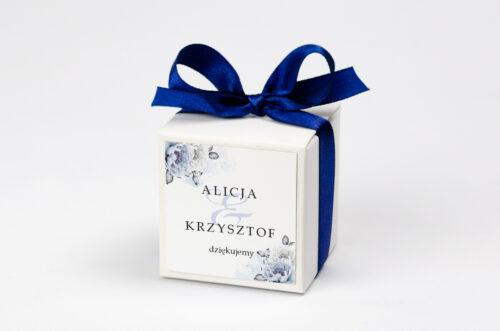 Ozdobne pudełeczko na krówki z personalizacją - Geometryczne Kwiaty - Błękitne kwiaty
