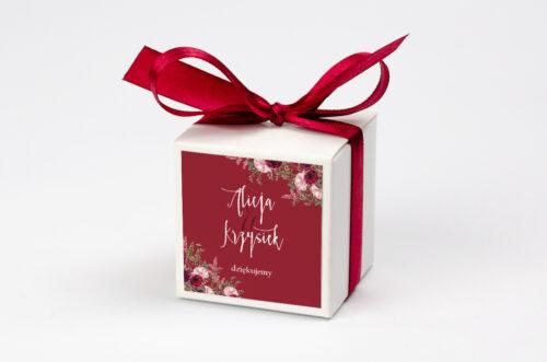 Pudełeczko z personalizacją do zaproszenia Akwarelowe Bukiety – Burgundowe róże na ciemnym tle