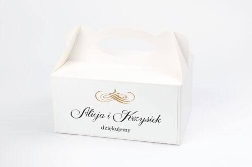 Pudełko na ciasto do zaproszenia Eleganckie ślubne 3D - Złote