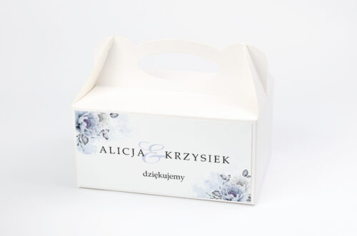 Ozdobne pudełko na ciasto - Geometryczne Kwiaty - Błękitne kwiaty
