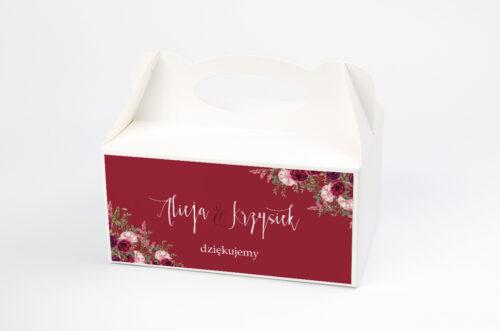 Ozdobne pudełko na ciasto - Akwarelowe Bukiety – Burgundowe róże na ciemnym tle