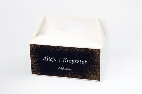 Ozdobne pudełko na ciasto - Kontrastowe z nawami - Złoty Brokat