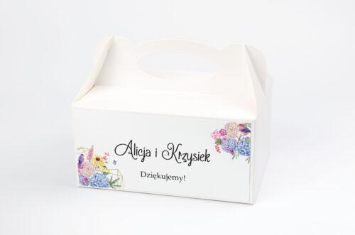 pudełko na ciasto z rustykalnym bukietem kwiatów