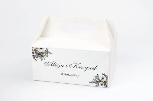 Ozdobne pudełko na ciasto - Kwiatowe Gałązki - Biało-Fioletowe Anemony