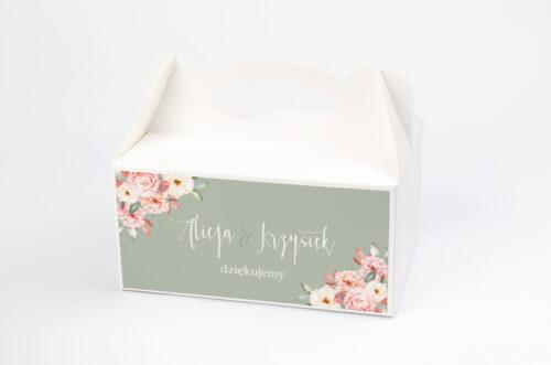 Ozdobne pudełko na ciasto - Akwarelowe Bukiety – Ogrodowe róże na ciemnym tle