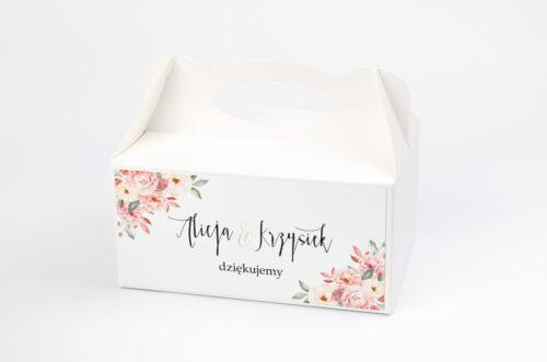 Ozdobne pudełko na ciasto - Akwarelowe Bukiety – Ogrodowe róże na jasnym tle