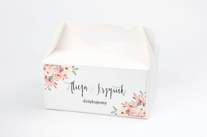 ozdobne-pudelko-na-ciasto-akwarelowe-bukiety-ogrodowe-roze-na-jasnym-tle-papier-satynowany-pudelko-na-ciasto