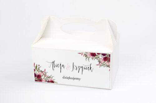 Ozdobne pudełko na ciasto - Akwarelowe Bukiety – Burgundowe róże na jasnym tle