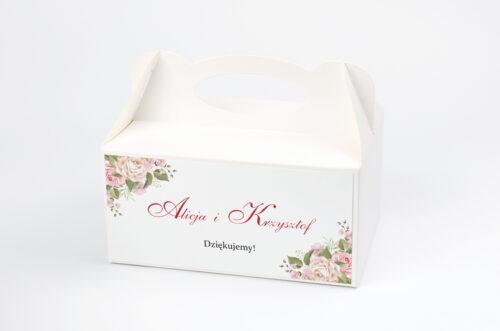 Pudełko na ciasto do zaproszenia Angielskie Róże – Pudrowe