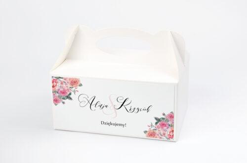Pudełko na ciasto do zaproszenia Angielskie Róże – Różowe i Herbaciane