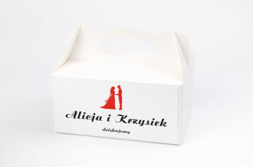 Pudełko na ciasto do zaproszenia Vintage - Black & White Czerwone