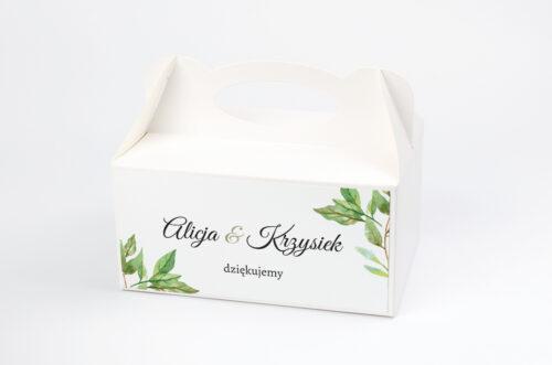 Ozdobne pudełko na ciasto - Botaniczne Jednokartkowe - Zielone liście