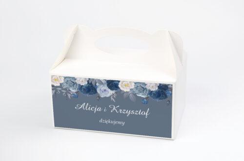 Ozdobne pudełko na ciasto - Duże Inicjały - Niebieskie Róże