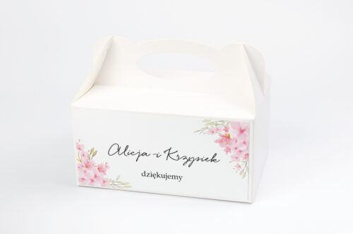 Ozdobne pudełko na ciasto - Eleganckie kwiaty - Kwiaty wiśni