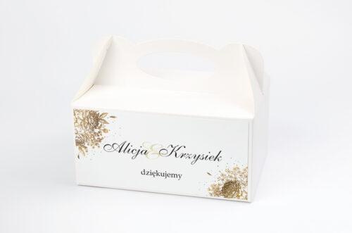 Ozdobne pudełko na ciasto - Geometryczne Kwiaty - Złoty bukiet