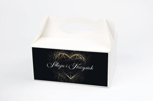 Ozdobne pudełko na ciasto - Geometryczne Serce - Złoto