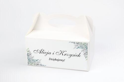 Ozdobne pudełko na ciasto - Geometryczne ze zdjęciem - Zimowe Listki
