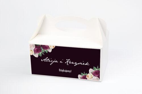 Ozdobne pudełko na ciasto - Kontrastowe z kwiatami - Kolorowe róże