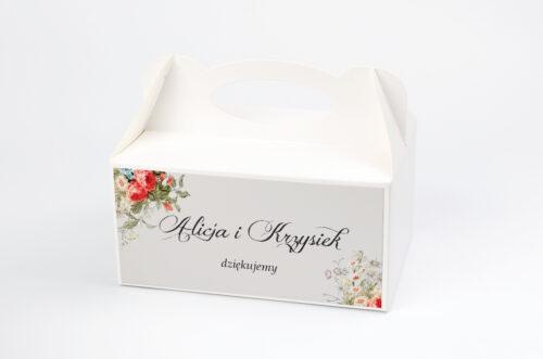 Ozdobne pudełko na ciasto - Kwiatowe Gałązki - Białe Kalie