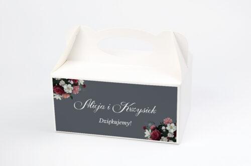 Ozdobne pudełko na ciasto - Kwiatowe Nawy - Burgundowy bukiet