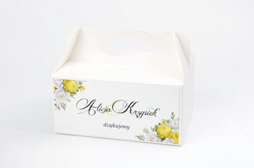 Ozdobne pudełko na ciasto Kwiaty&Złoto - Żółte róże