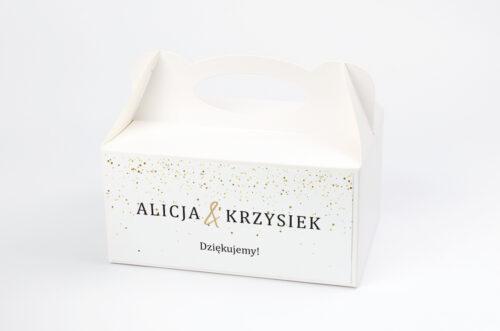 pudełko na ciasto - minimalistyczne złote kropeczki