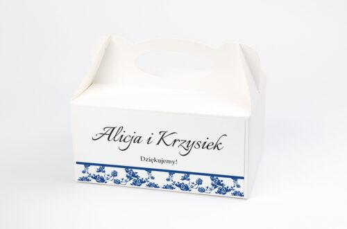 Pudełko na ciasto do zaproszenia Ornament z kokardką na pasku - wzór 3