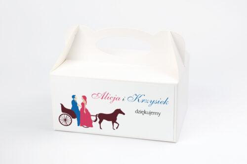 Pudełko na ciasto do zaproszenia Red & Blue - Powóz
