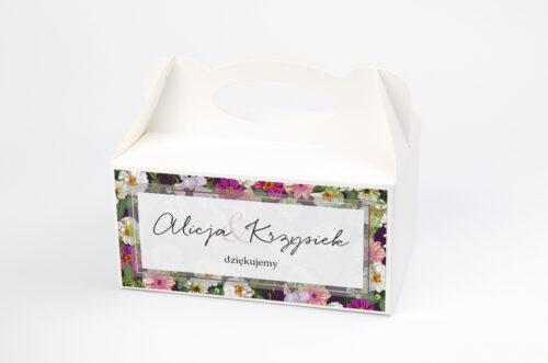 Ozdobne pudełko na ciasto Tło z kwiatów – Kolorowe astry