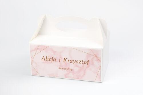 Ozdobne pudełko na ciasto - Kontrastowe z nawami - Złota Geometria & Różowy Marmurek