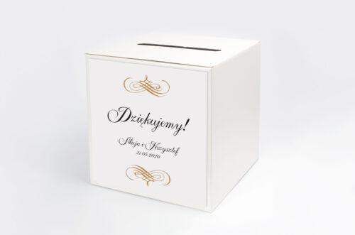 Personalizowane pudełko na koperty - Eleganckie ślubne 3D - Złote