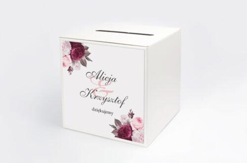 Personalizowane pudełko na koperty - Geometryczne Kwiaty - Amarantowy bukiet