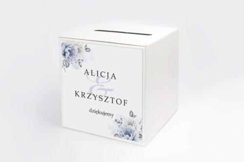 Personalizowane pudełko na koperty - Geometryczne Kwiaty - Błękitne kwiaty