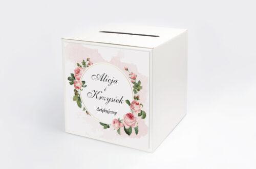 Personalizowane pudełko na koperty - Geometryczne ze zdjęciem - Różowe Różyczki