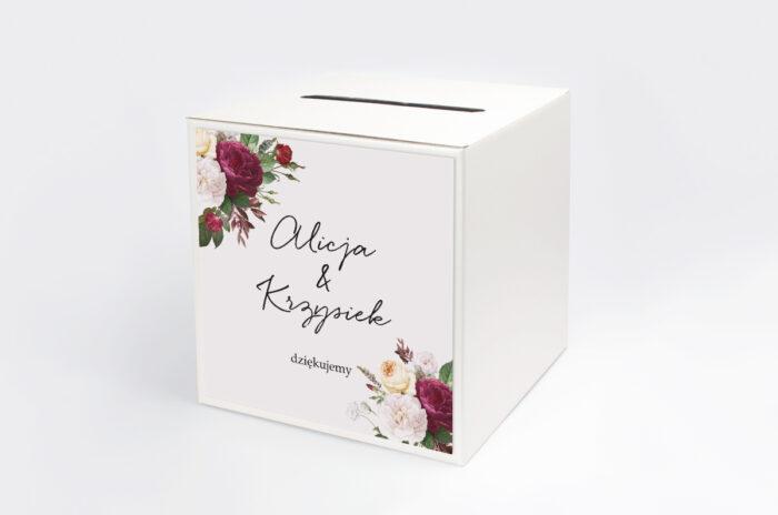 personalizowane-pudelko-na-koperty-eleganckie-kwiaty-bordowe-roze-papier-satynowany-pudelko-