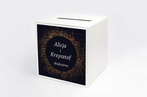 Personalizowane pudełko na koperty - Kontrastowe z nawami - Złoty Brokat