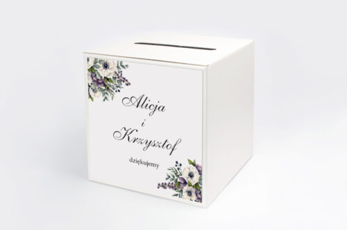 Personalizowane pudełko na koperty - Kwiatowe Gałązki - Biało-Fioletowe Anemony