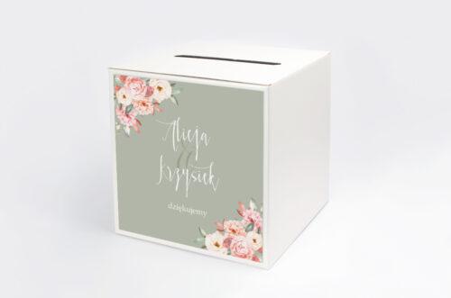 Pudełko na koperty do zaproszenia Akwarelowe Bukiety – Ogrodowe róże na ciemnym tle