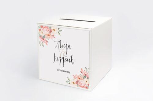 Pudełko na koperty do zaproszenia Akwarelowe Bukiety – Ogrodowe róże na jasnym tle