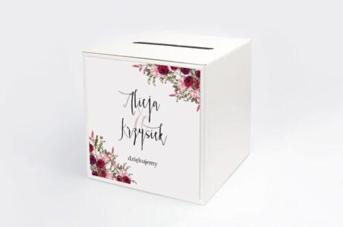 Pudełko na koperty do zaproszenia Akwarelowe Bukiety – Burgundowe róże na jasnym tle
