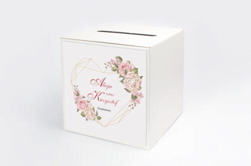 Personalizowane pudełko na koperty do zaproszenia Angielskie Róże – Pudrowe