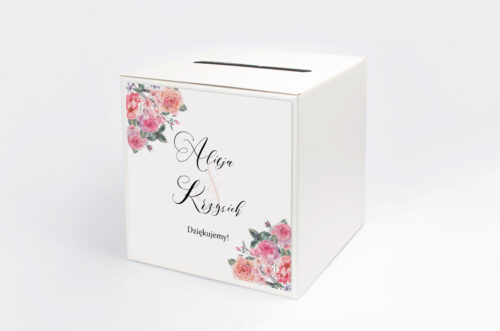 Personalizowane pudełko na koperty do zaproszenia Angielskie Róże – Różowe i Herbaciane