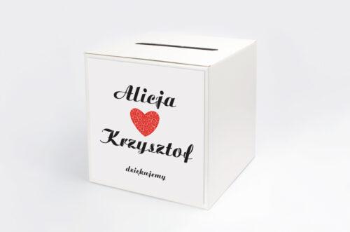 Personalizowane pudełko na koperty do zaproszenia Vintage - Black & White Czerwone