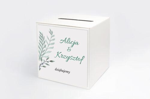 pudełko na koperty we wzorze zielonych listków