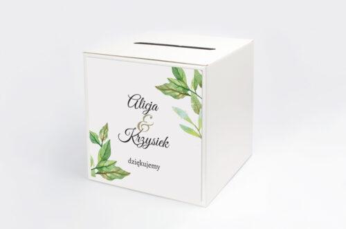 Personalizowane pudełko na koperty - Botaniczne Jednokartkowe - Zielone liście