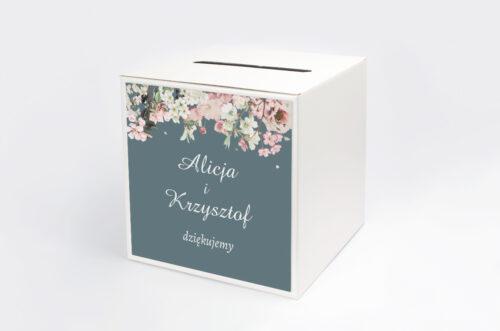 Personalizowane pudełko na koperty - Duże Inicjały - Kwiaty Wiśni